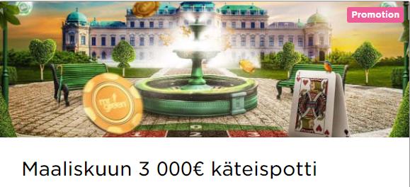 Mr Green keväinen 3000 euron käteispotti