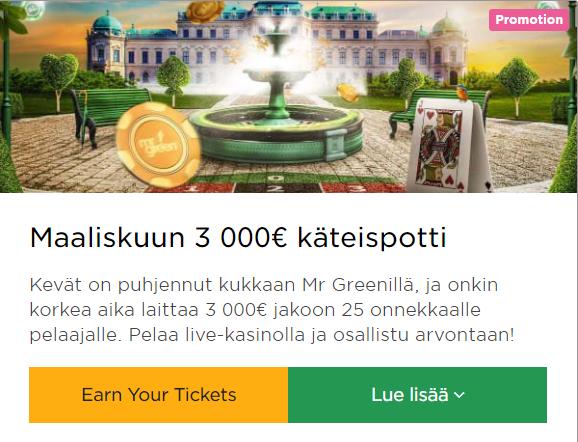 Mr Green keväinen 3000 euron potti
