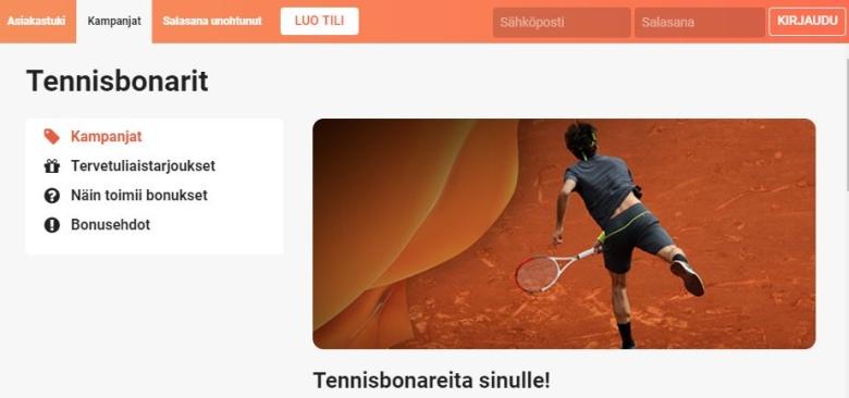 LeoVegasin tennisbonareita