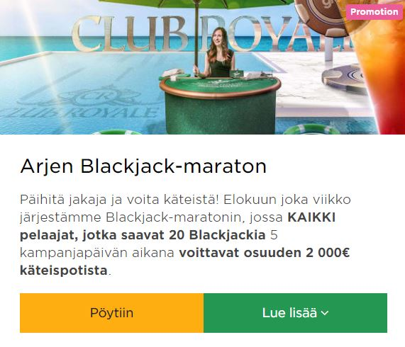 Mr Green ja arjen Blackjack -maraton
