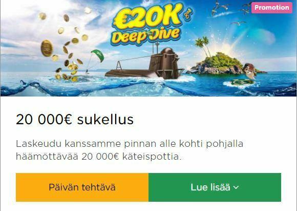Mr Green - päivän tehtävät sekä 20 000 euroa