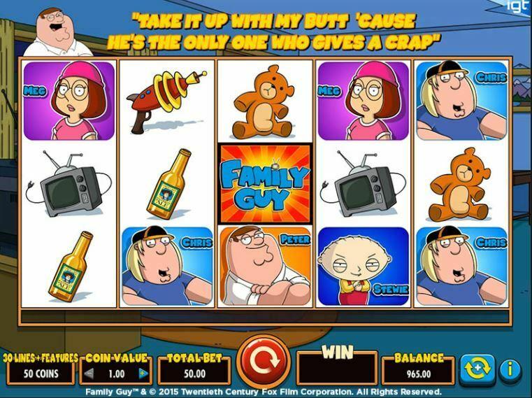 Family Guy kolikkopeli ja muut sarjakuvaslotit